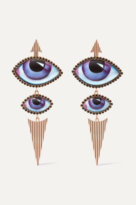 Lito Tu Es Partout 14-karat Rose Gold, Enamel And Diamond Earrings