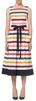 Carolina Herrera Sleeveless Striped Belted Midi Dress, Multicolor