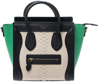 Celine Multicolor Python and Leather Nano Luggage Tote