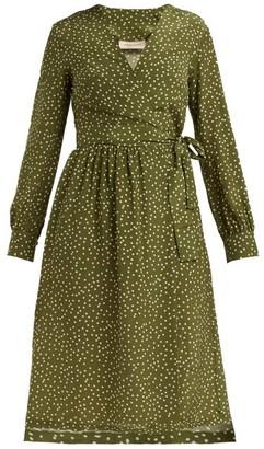 Adriana Degreas Mille Punti Polka-dot Silk-crepe Wrap Dress - Womens - Green White