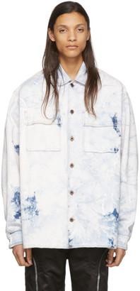 Off-White White and Blue Denim Oversized Arrows Jacket