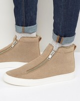 Asos Zip Sneakers in Stone With Faux Shearling Lining