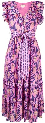 Temperley London Reef print ruffle dress
