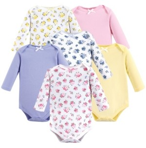 Luvable Friends Unisex Baby Long-Sleeve Bodysuits, Floral 6-Pack, 0-24 Months