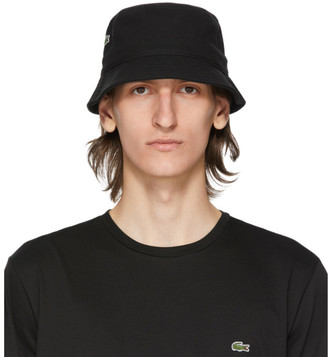 Lacoste Black Cotton Bucket Hat