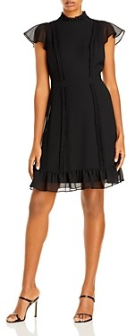 Adrianna Papell Textured Chiffon Ruffle Dress