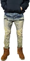 URBANMANIA Men's Hipster Hip Hop Double Wax Coated Moto Skinny Jean Pants (36X33, )