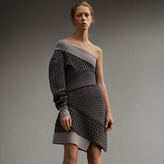 Burberry One-shoulder Cable Knit Wool Blend Dress