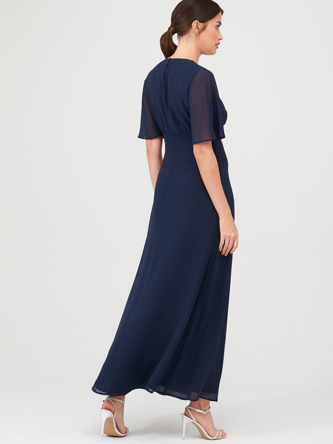 Warehouse Angel Sleeve Button Front Maxi Dress - Navy