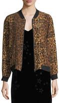 Johnny Was Leopard-Print Silk Bomber Jacket, Plus Size