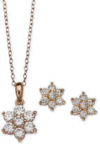 Giani Bernini Cubic Zirconia Flower Pendant Necklace and Stud Earrings Set in 18k Rose Gold-Plated Sterling Silver, Only at Macy's