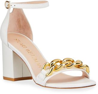 Stuart Weitzman Amelina Golden Chain Block-Heel Sandals