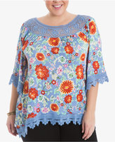 Eyeshadow Trendy Plus Size Crochet-Trim Top