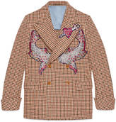 Gucci Houndstooth jacket with embroidery