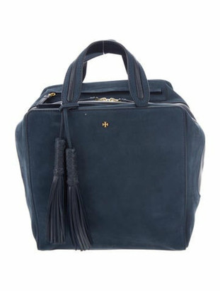 Tory Burch Leather-Trimmed Suede Satchel Blue