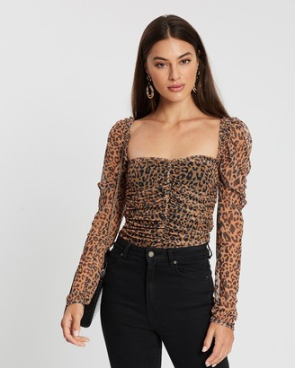 Missguided Mesh Ruched Corset Puff Top