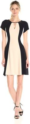 Sandra Darren Women's Short Cap Sleeve Fit & Flare Keyhole Color Block Dress
