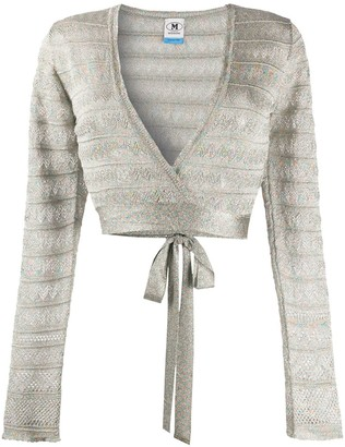 M Missoni Metallic-Knit Wrap Cardigan