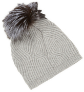 Saks Fifth Avenue Twisted Ribbed & Fox Pom Hat