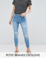 Urban Bliss Petite Distressed Ripped Skinny Jeans In Bleach Wash