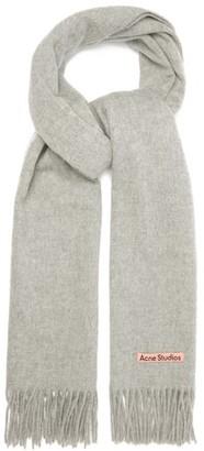Acne Studios Canada Fringed Wool Scarf - Light Grey