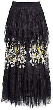 Amen Women's Embroidered Floral Lace Midi Skirt