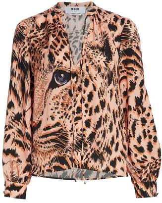 MSGM Leopard High-Neck Blouse