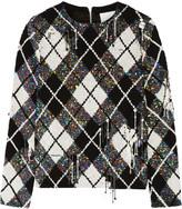 Ashish Distressed embellished argyle silk-georgette top