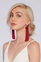 Vanessa Mooney Astrid Knotted Tassel Earrings in Burgundy