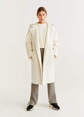 MANGO Hooded wool coat white - XXS-XS - Women