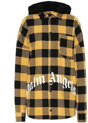 Palm Angels Logo checked cotton-blend jacket