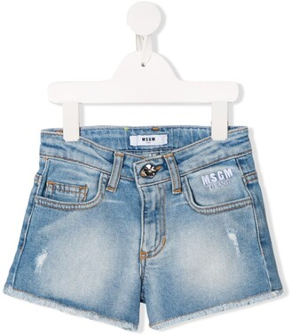 Msgm Kids Distressed Denim Shorts