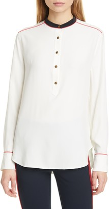 Rag & Bone Luca Band Collar Silk Charmeuse Blouse