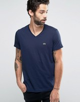 Lacoste T-shirt With V Neck In Regular Fit Navy