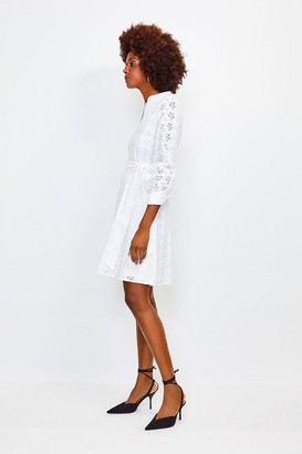 Karen Millen Cotton Broderie Shirt Dress