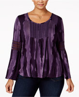 Style&Co. Style & Co. Plus Size Lace-Trimmed Bell-Sleeve Top, Only at Macy's