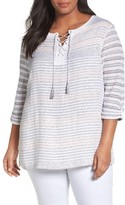 Nic+Zoe Plus Size Women's Ahoy Stripe Linen Blend Sweater