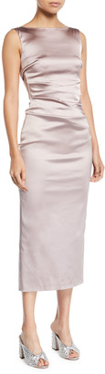 Talbot Runhof Sleeveless Boat-Neck Ruched Satin Body-con Midi Cocktail Dress