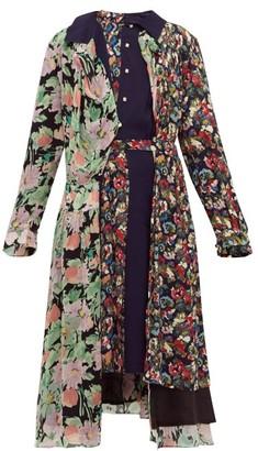 Junya Watanabe Belted Floral-print Crepe Midi Dress - Navy Multi