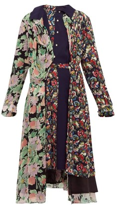 Junya Watanabe Belted Floral-print Crepe Midi Dress - Womens - Navy Multi