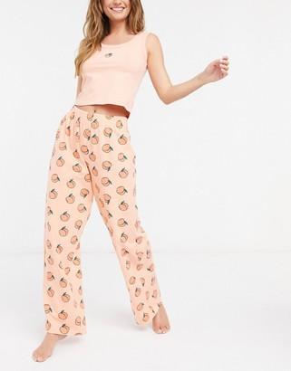 Skinnydip pyjama tank top and bottoms set in peach print