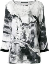 Alberta Ferretti long sleeved printed blouse