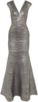 Herve Leger Metallic stretch-knit bandage gown