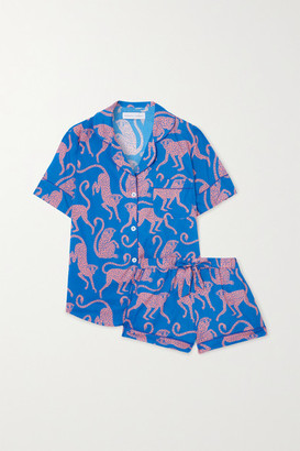 Desmond & Dempsey Chango Printed Organic Cotton Pajama Set - Blue