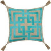 The Well Appointed House Blue Embroidered Shanghai Links Pillow With Beige Tassels