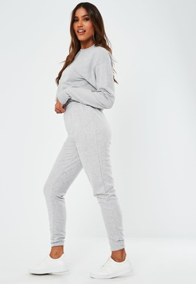 Missguided Tall Grey Marl Cropped Sweatshirt And Joggers Co Ord Set