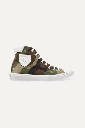Saint Laurent Bedford Logo-appliqued Distressed Printed Canvas High-top Sneakers - Army green