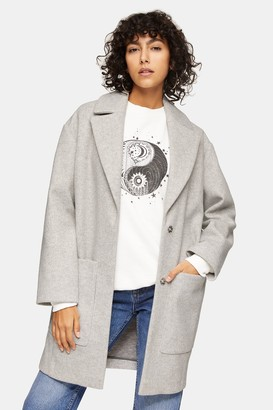 Topshop Womens Petite Grey Marl Classic Coat - Grey