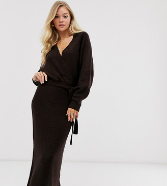 M Lounge Luxe belted wrap midi dress