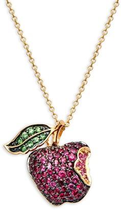 Saks Fifth Avenue 14K Gold, Ruby, Pink Sapphire & Tsavorite Apple Pendant Necklace